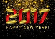 Guten Rutsch ins Neue Jahr 2017 Gold mit roten volumetrischen Zahlen lizenzfreie abbildung