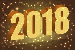 Guten Rutsch ins Neue Jahr 2018 Gold nummeriert 3D auf dem braunen Hintergrund Stockfotos