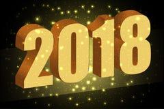 Guten Rutsch ins Neue Jahr 2018 Gold nummeriert 3D auf dem schwarzen Hintergrundesprit Stockfotos