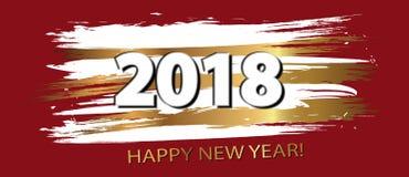Guten Rutsch ins Neue Jahr 2018 Gold und dynamische Gestaltungselemente des Schwarzen Vec Lizenzfreies Stockfoto