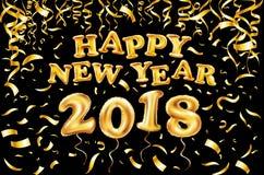 2018-guten Rutsch ins Neue Jahr-Goldballon schwarzer Hintergrund, Funkelnrahmen, golden, Text Grußkartenkonzept, Vektorillustrati Lizenzfreies Stockbild