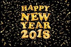 2018-guten Rutsch ins Neue Jahr-Goldballon schwarzer Hintergrund, Funkelnrahmen, golden, Text Grußkartenkonzept, Vektorillustrati Lizenzfreie Stockfotografie
