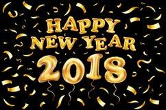 2018-guten Rutsch ins Neue Jahr-Goldballon schwarzer Hintergrund, Funkelnrahmen, golden, Text Grußkartenkonzept, Vektorillustrati Lizenzfreie Stockfotos