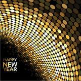 Guten Rutsch ins Neue Jahr - goldene Discolichter auf dem schwarzen Hintergrund, abstrakte Tapete lizenzfreie abbildung