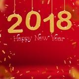 2018-guten Rutsch ins Neue Jahr-Goldfarbe und -Konfettis, die am roten studi hängen Lizenzfreie Stockfotos