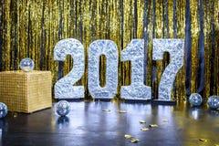 Guten Rutsch ins Neue Jahr-Goldhintergrund 2017 Lizenzfreies Stockfoto