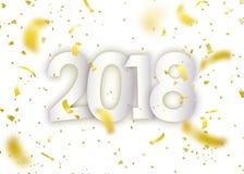 2018 guten Rutsch ins Neue Jahr Goldkonfettis, kleine Papierstücke auf hellem weißem Hintergrund Lizenzfreie Stockfotografie