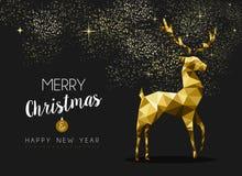 Guten Rutsch ins Neue Jahr-Goldrotwildorigami der frohen Weihnachten Lizenzfreies Stockfoto