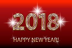 Guten Rutsch ins Neue Jahr-Goldscheinhintergrund 2018 Stockbild