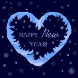 guten Rutsch ins Neue Jahr-Grüße in einem Herz-förmigen Rahmen vektor abbildung