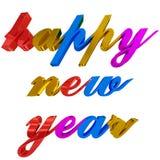 Guten Rutsch ins Neue Jahr-Gruß, bunte Buchstaben 3d auf Weiß Lizenzfreies Stockfoto