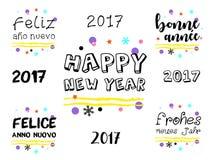Guten Rutsch ins Neue Jahr-Gruß 2017 in den mehrfachen Sprachen Stockbilder