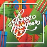 Guten Rutsch ins Neue Jahr-Gruß-Karte mit Beschriftung Vektor Abbildung