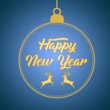 Guten Rutsch ins Neue Jahr-Gruß-Kartenentwurfs-Schablonenplan auf blauem Steigungshintergrund mit Rotwild, Text mit der Hand, die stock abbildung