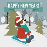 Guten Rutsch ins Neue Jahr-Grußkarte Lizenzfreie Abbildung