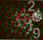 Guten Rutsch ins Neue Jahr-Grußkarte 2019 stockbild