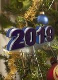 Guten Rutsch ins Neue Jahr-Grußkarte 2019 lizenzfreie stockfotos