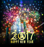 Guten Rutsch ins Neue Jahr-Grußkarte 2017 Stockfoto