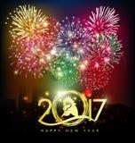 Guten Rutsch ins Neue Jahr-Grußkarte 2017 Stockbild
