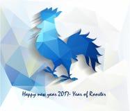 2017-guten Rutsch ins Neue Jahr-Grußkarte Feier-Chinesisches Neujahrsfest des Hahns neues Mondjahr Stockfotos