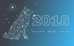2018-guten Rutsch ins Neue Jahr-Grußkarte Feier mit Hund 2018 Chinesisches Neujahrsfest des Hundes Auch im corel abgehobenen Betr Stockfoto