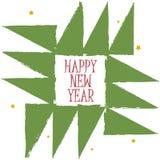 Guten Rutsch ins Neue Jahr-Grußkarte Geometrischer Weihnachtsbaumschmuck mit Gutshofrändern Weinlese boho Kunst-Postkartenhinterg Lizenzfreie Stockbilder