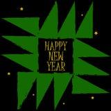Guten Rutsch ins Neue Jahr-Grußkarte Geometrischer Weihnachtsbaumschmuck mit Gutshofrändern Weinlese boho Kunst-Postkartenhinterg Stockbild