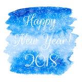Guten Rutsch ins Neue Jahr-Grußkarte mit blauem Aquarell vector zurück Stockfoto