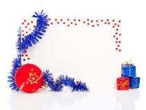 Guten Rutsch ins Neue Jahr-Grußkarte mit blauem Lametta Lizenzfreie Stockfotografie