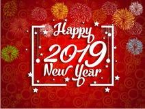 2019-guten Rutsch ins Neue Jahr-Grußkarte mit bunten Feuerwerken Nett, als Teil Ihrer Auslegung zu verwenden Lizenzfreie Stockfotografie