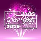 2019-guten Rutsch ins Neue Jahr-Grußkarte mit bunten Feuerwerken Nett, als Teil Ihrer Auslegung zu verwenden Lizenzfreies Stockbild