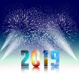 2019-guten Rutsch ins Neue Jahr-Grußkarte mit bunten Feuerwerken Nett, als Teil Ihrer Auslegung zu verwenden Lizenzfreie Stockfotos