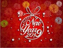 2019-guten Rutsch ins Neue Jahr-Grußkarte mit bunten Feuerwerken Nett, als Teil Ihrer Auslegung zu verwenden Lizenzfreie Stockbilder