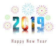 2019-guten Rutsch ins Neue Jahr-Grußkarte mit bunten Feuerwerken Nett, als Teil Ihrer Auslegung zu verwenden Stockfotos