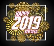 2019-guten Rutsch ins Neue Jahr-Grußkarte mit bunten Feuerwerken Nett, als Teil Ihrer Auslegung zu verwenden Lizenzfreies Stockfoto