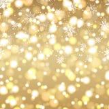 Guten Rutsch ins Neue Jahr-Grußkarte mit defocused Lichtern Hintergrund und Gold simsen 2018 Vektor Stockfotografie