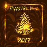Guten Rutsch ins Neue Jahr-Grußkarte mit dem Weihnachtsbaum gemacht auf Feder Lizenzfreies Stockbild