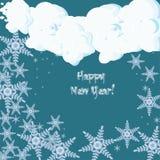 Guten Rutsch ins Neue Jahr-Grußkarte mit fallenden Schneeflocken Stockbilder