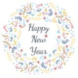 Guten Rutsch ins Neue Jahr-Grußkarte mit Kranz, Weinlese-Hintergrund mit Typografie und Elementen - Socke, Fichte, Tannenbaum, Lu Lizenzfreie Abbildung