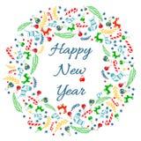 Guten Rutsch ins Neue Jahr-Grußkarte mit Kranz, Weinlese-Hintergrund mit Typografie und Elementen - Socke, Fichte, Tannenbaum, Lu Vektor Abbildung