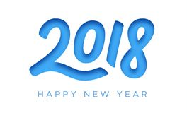Guten Rutsch ins Neue Jahr-Grußkarte 2018 mit Papierschnitt Lizenzfreie Stockbilder