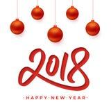 Guten Rutsch ins Neue Jahr-Grußkarte 2018 mit Papierschnitt Vektor Abbildung
