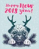 Guten Rutsch ins Neue Jahr-Grußkarte mit Vektorporträt des Hundes mit dem Geweih vektor abbildung