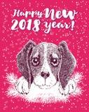Guten Rutsch ins Neue Jahr-Grußkarte mit Vektorporträt des Hundes mit dem Geweih lizenzfreie abbildung