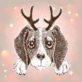 Guten Rutsch ins Neue Jahr-Grußkarte mit Vektorporträt des Hundes mit dem Geweih stock abbildung
