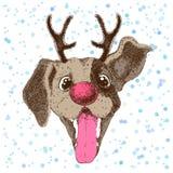 Guten Rutsch ins Neue Jahr-Grußkarte mit Vektorporträt des lustigen Hundes mit dem Geweih stock abbildung
