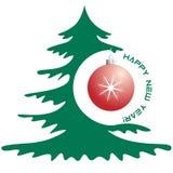 Guten Rutsch ins Neue Jahr-Grußkarte mit Weihnachtsbaum und Ball lizenzfreie abbildung