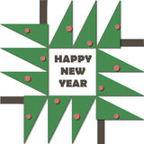 Guten Rutsch ins Neue Jahr-Grußkarte Papierschnittcollagenapplikations-Ausschnittkind Weihnachtsbaum mit geometrischem Material d Stockfotografie