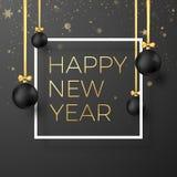 Guten Rutsch ins Neue Jahr-Grußkarte Schwarze Weihnachtsbälle mit goldenen Bändern und festlicher Goldtext im weißen Rahmen Auch  vektor abbildung