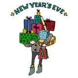 Guten Rutsch ins Neue Jahr-Grußkarte Silvesterabendtitel Verschiedene Farbgeschenkboxen mit Bögen, Geschenke Verpackung und Band  Stockfotografie